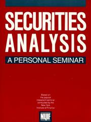 Cover of: Securities Analysis | New York Institute of Finance.