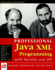 Cover of: Professional Java XML programming with servlets and JSP | Thomas J. Myers