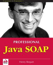 Cover of: Professional Java SOAP