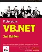 Cover of: Professional VB.NET