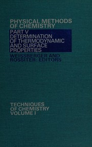 Cover of: Determination of thermodynamic and surface properties