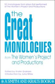 Cover of: The great monologues from the Women's Project | edited by Kristin Graham.