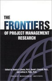Cover of: The Frontiers of Project Management Research
