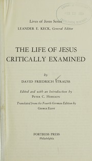 Cover of: The Life of Jesus | David Friedrich Strauss