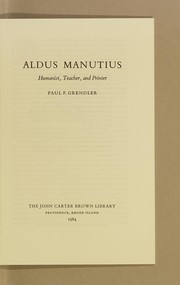 Cover of: Aldus Manutius by Paul F. Grendler