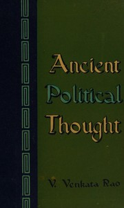 Cover of: Ancient political thought | V. Venkata Rao