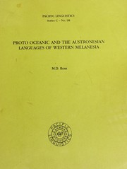 Cover of: Proto Oceanic and the Austronesian languages of Western Melanesia | Malcolm Ross