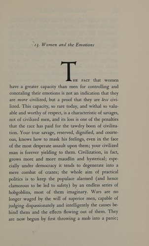 In defense of women by H. L. Mencken