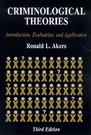 Cover of: Criminological theories