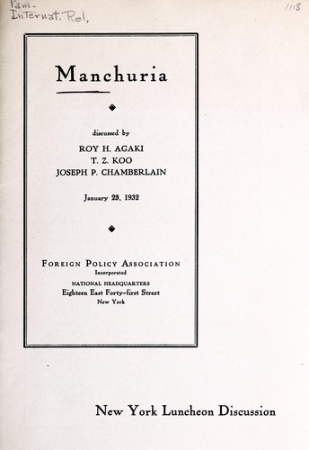 Manchuria by Roy H. Agaki