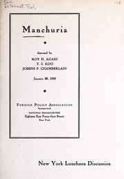 Cover of: Manchuria | Roy H. Agaki