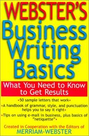 Cover of: Webster's Business Writing Basics | Merriam-Webster