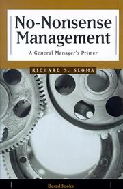 Cover of: No-Nonsense Management