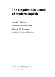 Cover of: The linguistic structure of modern English | Laurel J. Brinton
