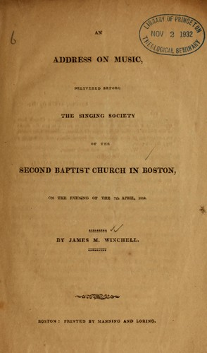 Address on music by James Manning Winchell