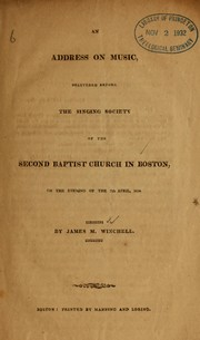 Cover of: Address on music by James Manning Winchell