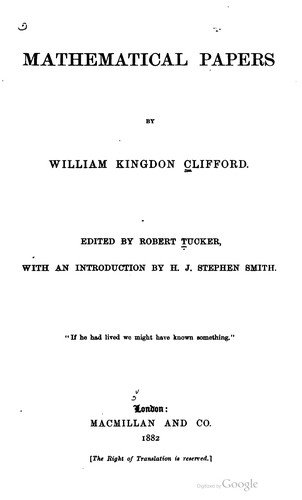 Mathematical papers by Clifford, William Kingdon
