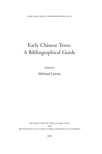 Early Chinese Texts by Michael Loewe