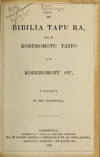 Te Bibilia Tapu Ra 1888 Edition Open Library