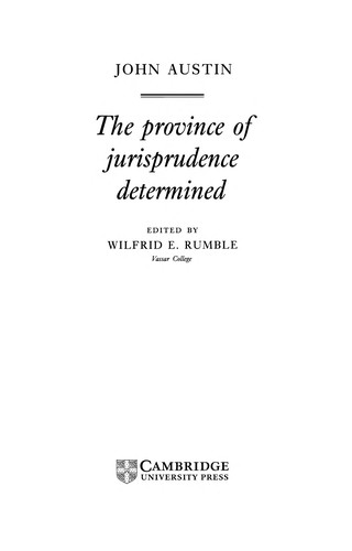 The province of jurisprudence determined. by Austin, John
