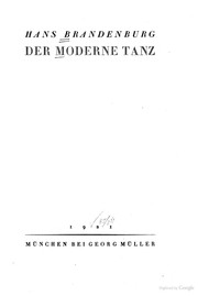 Cover of: Der moderne tanz. | Brandenburg, Hans