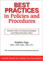 Cover of: Best Practices in Policies and Procedures | Stephen Page
