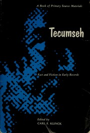 Cover of: Tecumseh | edited by Carl F. Klinck.
