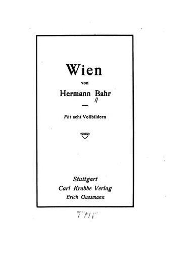Wien by Hermann Bahr