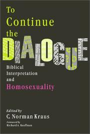 Cover of: To Continue the Dialogue |