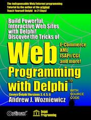 Cover of: Web Programming with Delphi (Delphi Programming) | Andrew J. Wozniewicz
