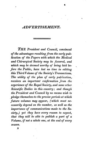 Medico-Chirurgical Transanction by The Medical and Chirurgical Society of London