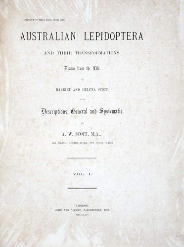 Australian lepidoptera and their transformations, drawn from the life by A. W. Scott