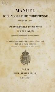Manuel d'iconographie chre tienne, grecque et latine