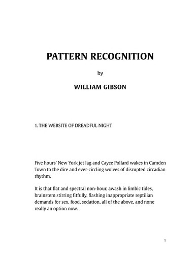 Pattern recognition by William Gibson, BA