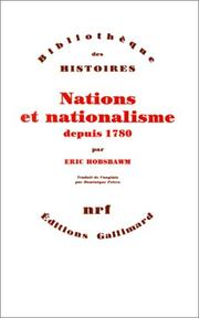 Cover of: Nations et nationalisme depuis 1780