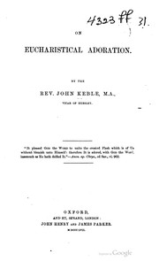 Cover of: On eucharistical adoration | John Keble