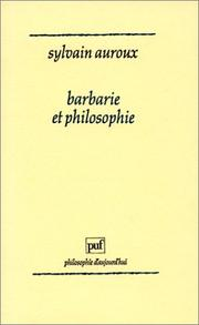 Cover of: Barbarie et philosophie
