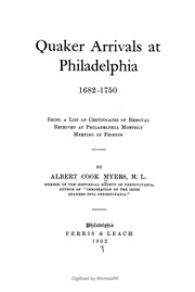 Cover of: Quaker arrivals at Philadelphia, 1682-1750 | Albert Cook Myers