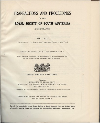 Transactions and proceedings of the Royal Society of South Australia (Incorporated) by Royal Society of South Australia