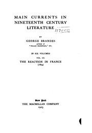Cover of: Main Currents in Nineteenth Century Literature | Georg Morris Cohen Brandes, Diana White , Mary Morison