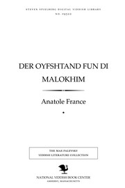 Cover of: Der oyfshṭand fun di malokhim | Anatole France