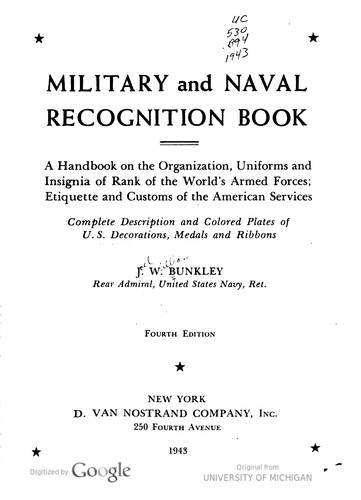 Military And Naval Recognition Book by Joel William Bunkley