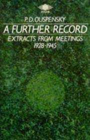 Cover of: A Further Record | P. D. Ouspensky