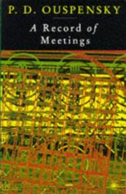 Cover of: A Record of Meetings