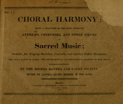 Cover of: Choral harmony by Mason, Lowell