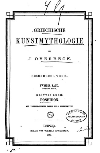 Griechische Kunstmythologie by Johannes Adolf Overbeck