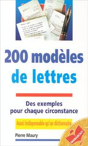 Cover of: 200 Modeles De Lettres (Ma1286) | Pierre Maury