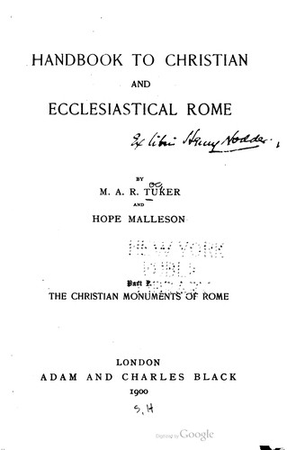 Handbook to Christian and Ecclesiastical Rome by