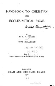 Cover of: Handbook to Christian and Ecclesiastical Rome |