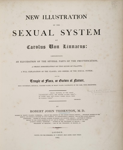 New illustration of the sexual system of Carolus von Linnaeus by Robert John Thornton